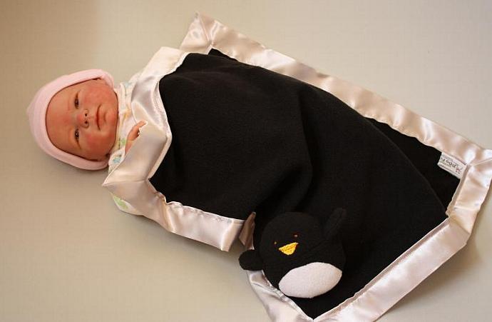 Penguin Security blanket Lovey Blanket, Satin, Baby Blanket, Stuffed Animal,