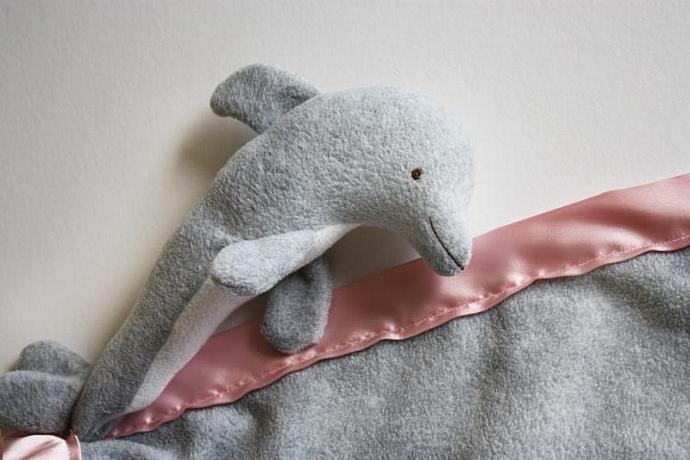 Dolphin Security Blanket, Lovey Blanket, Satin, Baby Blanket, Stuffed Animal,