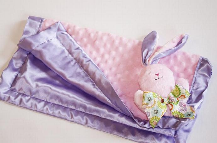 Brown Minky Bunny Rabbit Lovey Blanket, Satin, Baby Blanket, Stuffed Animal,