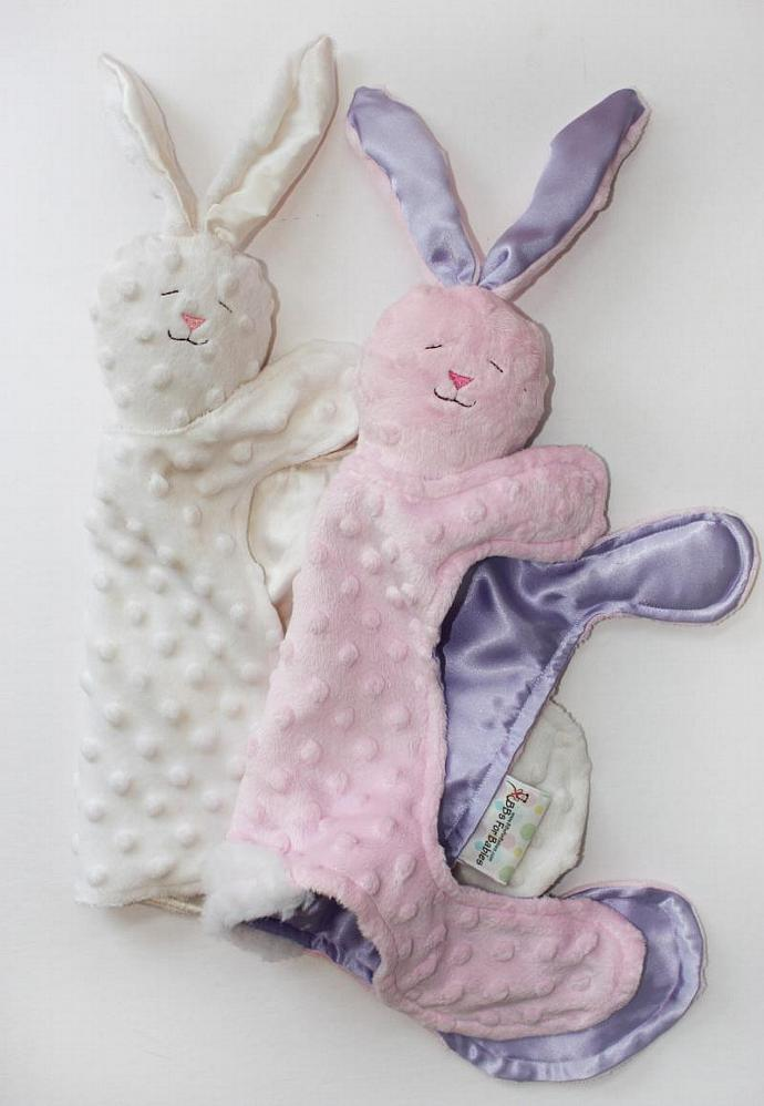 Minky Bunny Rabbit Lovey Blanket, Satin, Baby Blanket, Stuffed Animal, Baby Toy