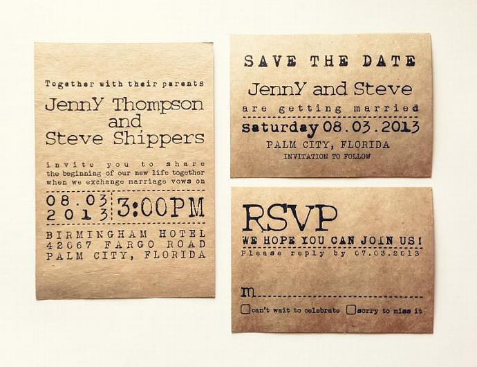 Typewriter Wedding Invitation Set Kraft Annspaperie