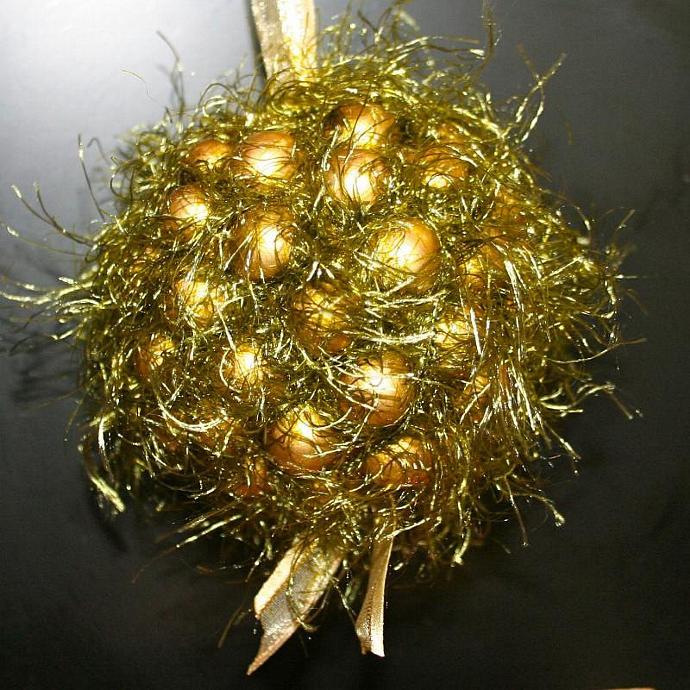 Green and Gold Christmas Kissing Ball