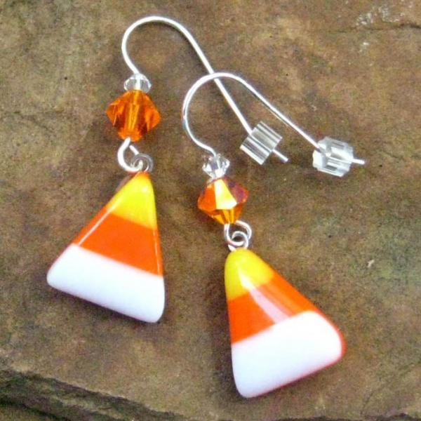 5cafdd392 Halloween Jewelry, Halloween Earrings, Fused Glass Earrings, Candy Corn  Fused