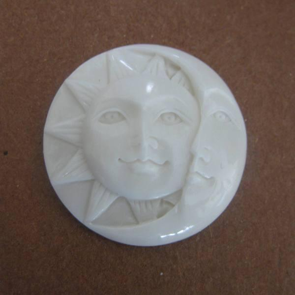 "MS Carved Cow Bone Sun Moon Cabochon 25mm 1 "" Bali Fair Trade"