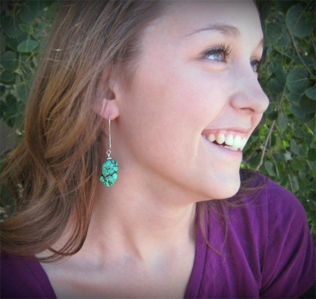 Chunky Green Turquoise Nugget Earrings, Drop Earrings, Chunky Turquoise Jewelry