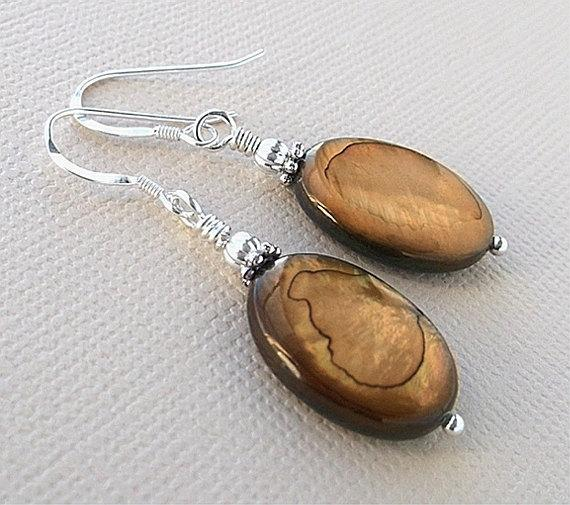 Modern Mother Of Pearl Brown Earrings, MOP Dangle Earrings, Sterling Silver Hook