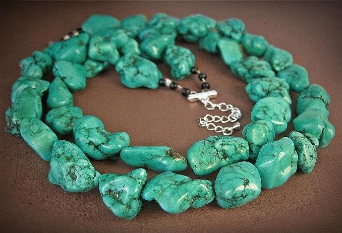 Megan Fox Necklace, Chunky Green Turquoise Necklace, Chunky Turquoise Statement