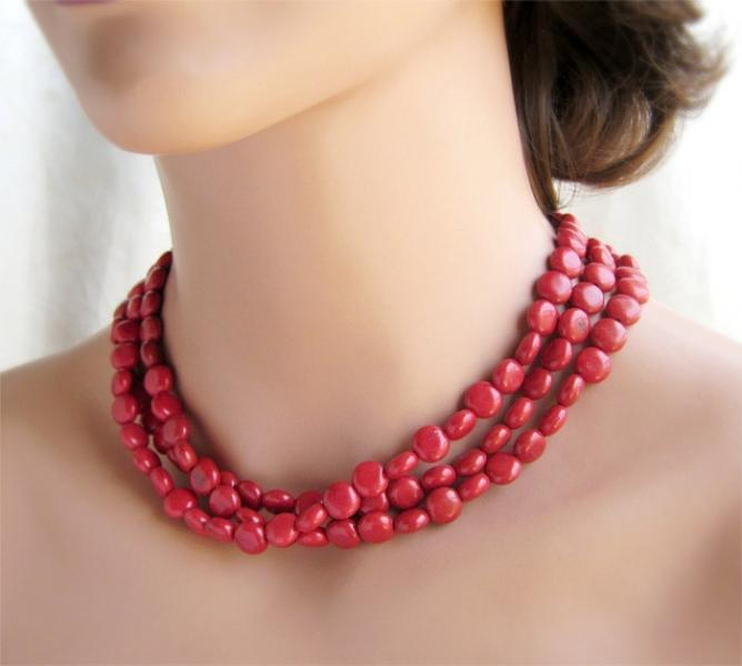 Cherry Red 3 Strand Statement Necklace, Red Jewelry, Southwest jewelry