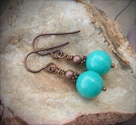 Copper And Mint Green Jade Earrings,  Dangle Gemstone Earrings, Copper Drop