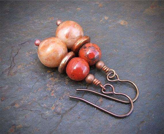 Handcrafted Copper Agate Jasper Earrings, Pierced Hook Dangle Earrings Artisan