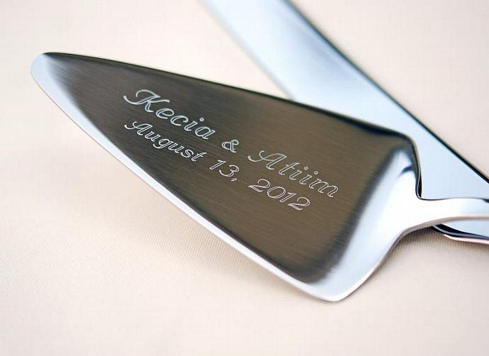 ENGRAVED Cake Knife Server Set, PERSONALIZED Wedding Serving Set, NOT Hand
