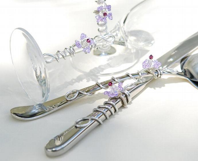 African Violet Wedding Cake Cutting Set, Matching bridal flutes,  SWAROVSKI