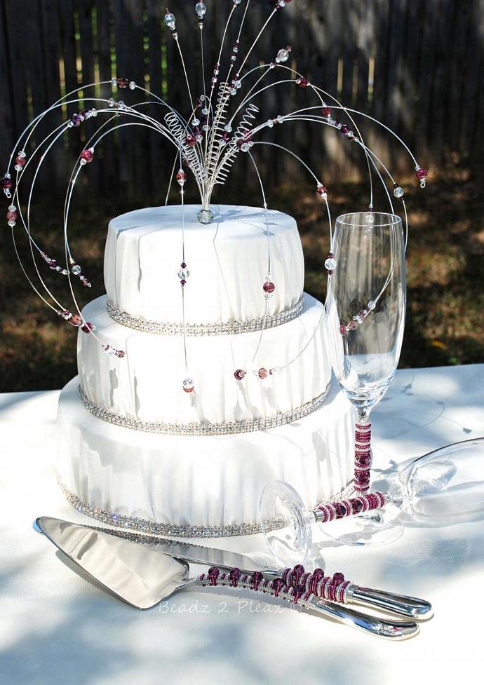 CUSTOM Cake Topper, Cake Server And Knife, Champagne Flutes, Matching Swarovski
