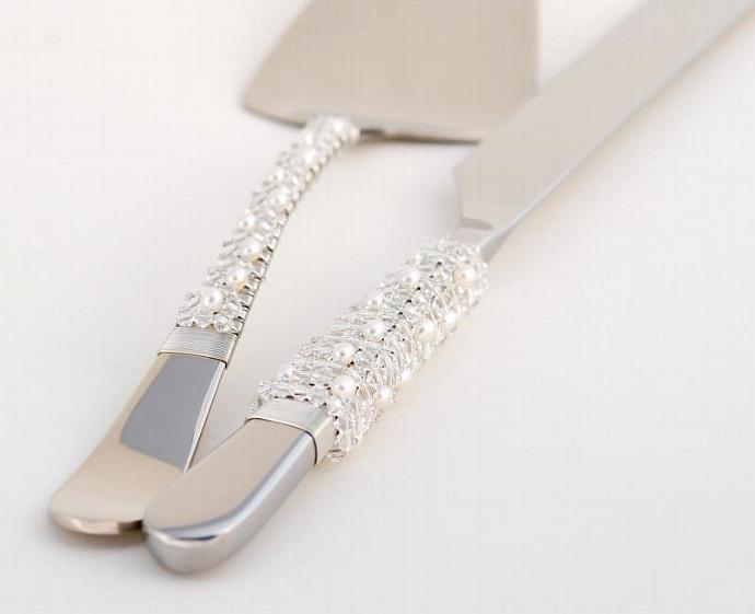 COUTURE Wedding Cake Knife And Server Set, Designed With SWAROVSKI CRYSTAL And
