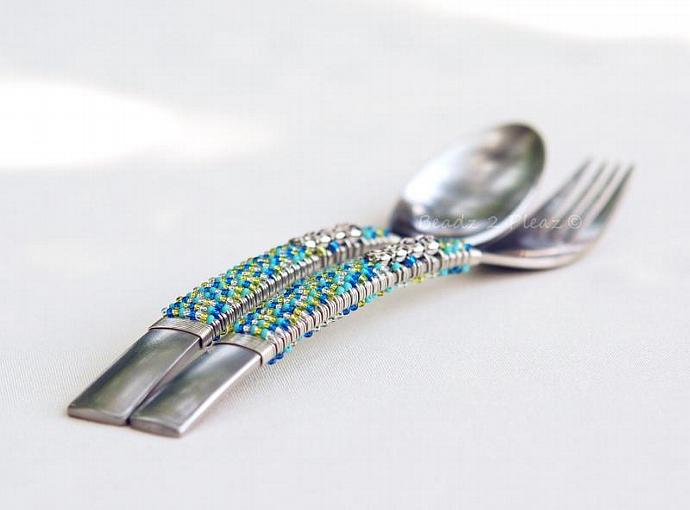 Kids Spoon And Fork Set, Beaded, Childrens Flatware, PERSONALIZED Childrens Gift