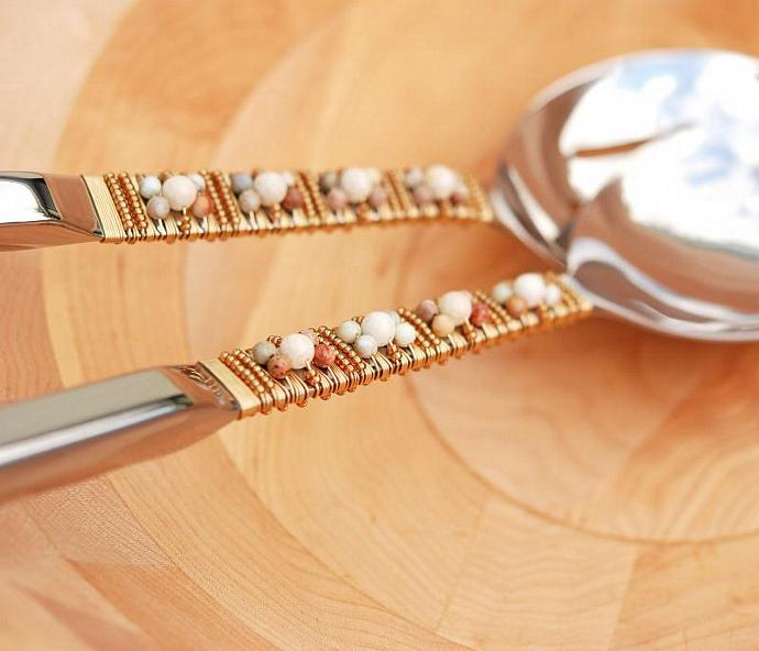Beaded SALAD SERVER Set, Stainless Steel Serving Spoons, UNIQUE Dinner Party