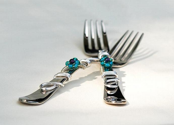 Mr And Mrs Cake Forks, Wedding Cake Flower Fork, Bride Groom Forks, CHOOSE Your