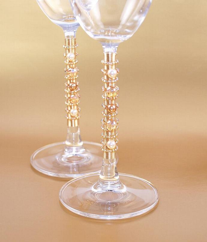 GOLD Wedding Cake Cutting Set, Champagne Flutes, Beaded Serving Pieces,