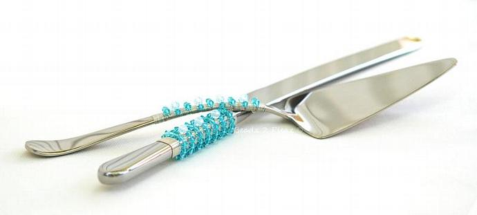 SWAROVSKI Wedding Cake Server And Knife Set Beaded Tiffany Blue And Opal Crystal