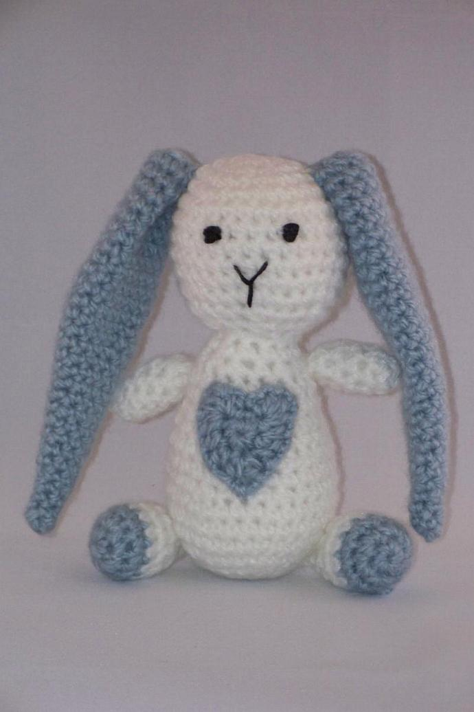 Bunny has a Big Heart, Light Blue and White, Stuffed Toy,