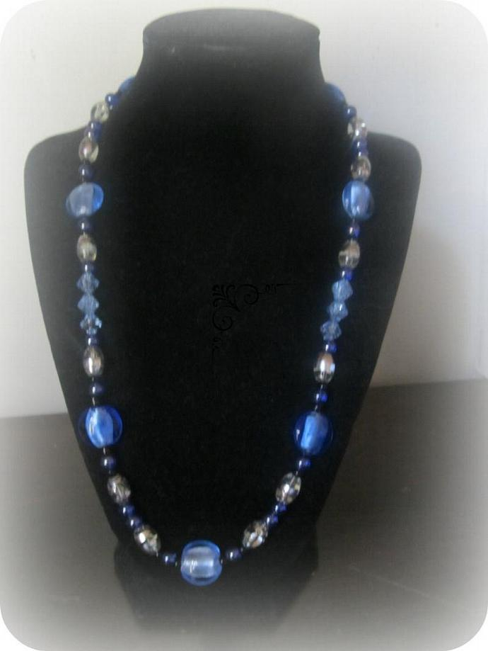 Blue and White Necklace, Lady's Necklace, Lady's fashion accessory , Jewelry,
