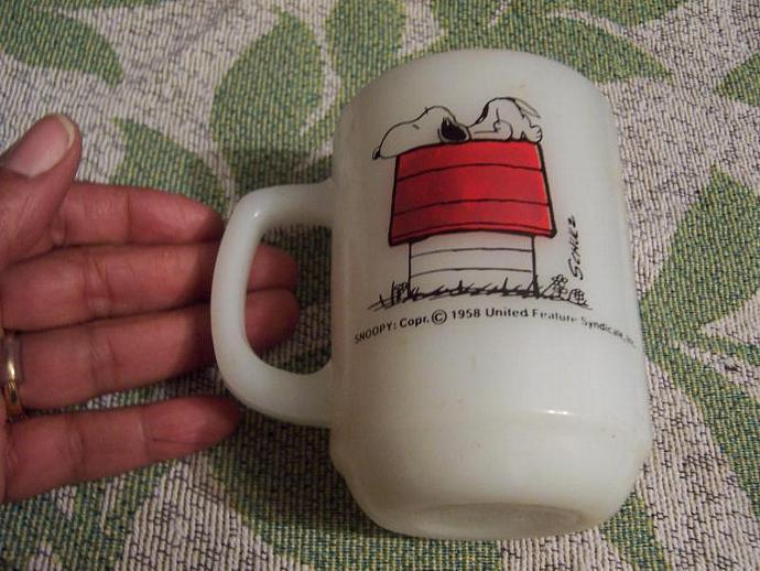 Fire King Snoopy on Dog house Mug  Allergic to Mornings