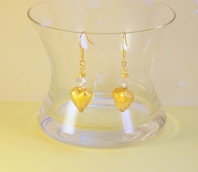 Yellow Venetian Glass and Crystal Earrings