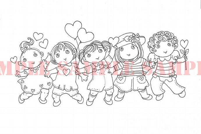 Euro Girl Happy Hearts Digi Stamp
