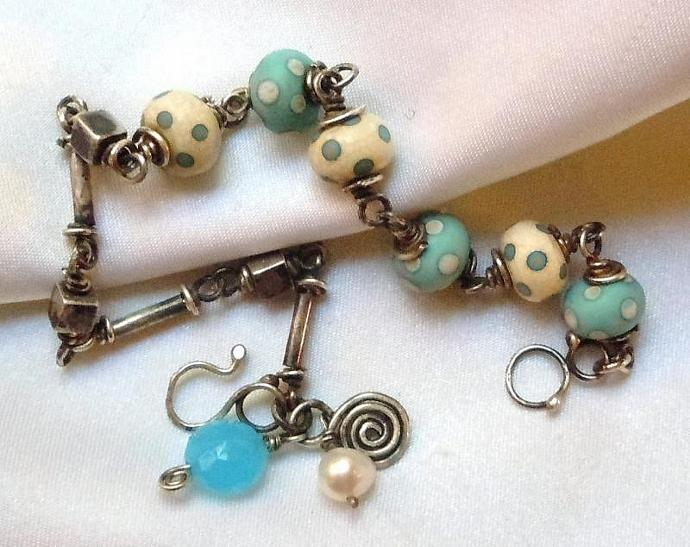 Aged Sterling Silver Lampwork Bracelet
