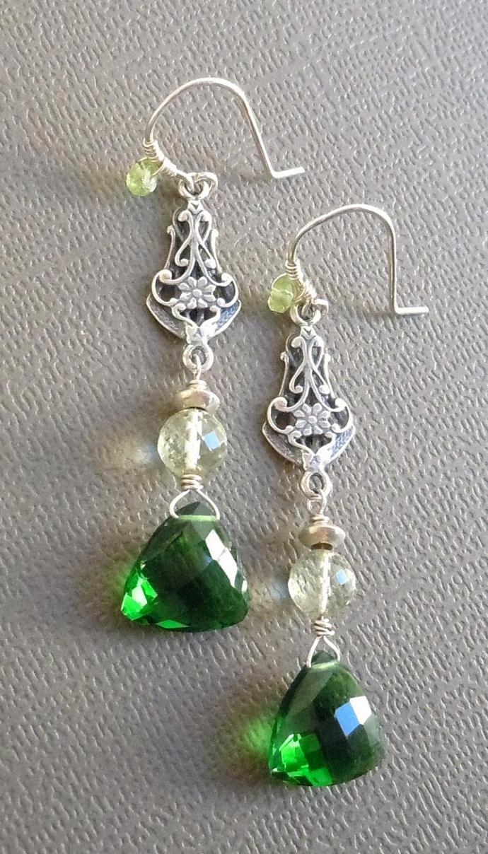 Sterling Silver Chandelier Earrings featuring AAA Grade Gemstones