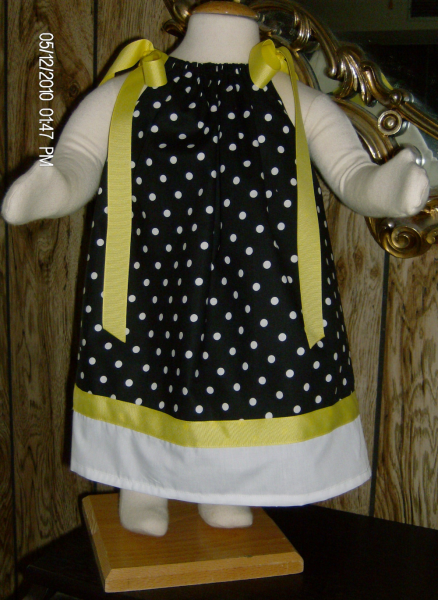 Black/White PolkaDot Personalized Pillowcase Dress