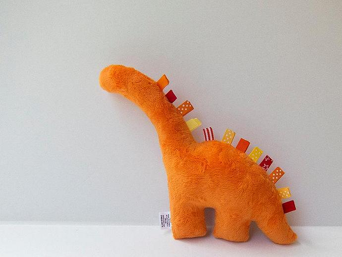 Stuffed Dinosaur Plush Minky Baby Toy Orange Red and White