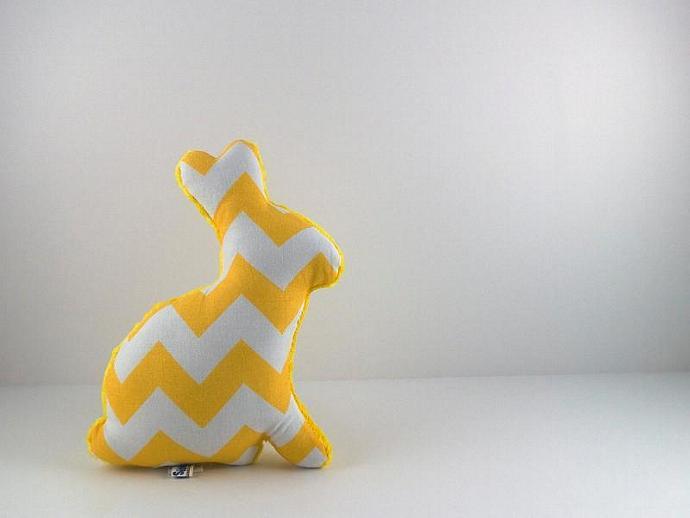 Plush Chevron Easter Bunny Stuffed Minky Bunny Baby Toy Yellow White