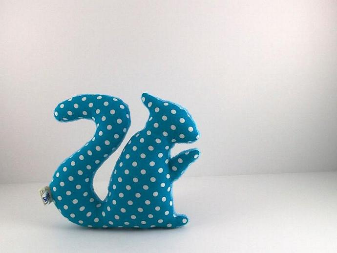 Plush Squirrel Softie Stuffed Minky Animal Baby Toy Polka Dot Turquoise Teal