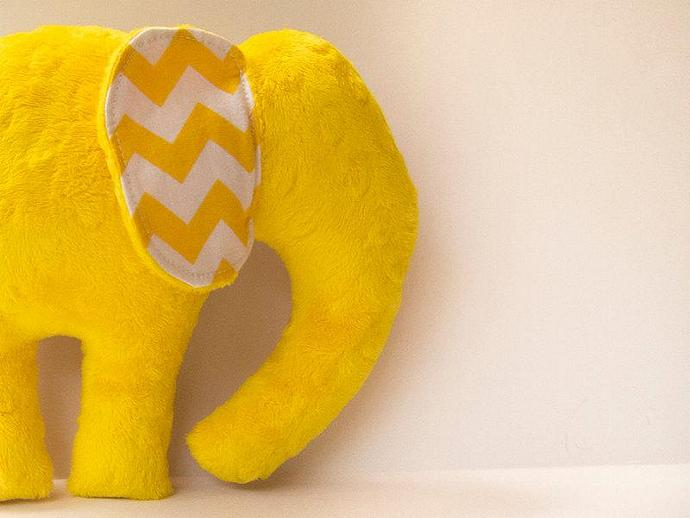 Yellow Polka Dot Chevron Elephant Softie Plush Animal