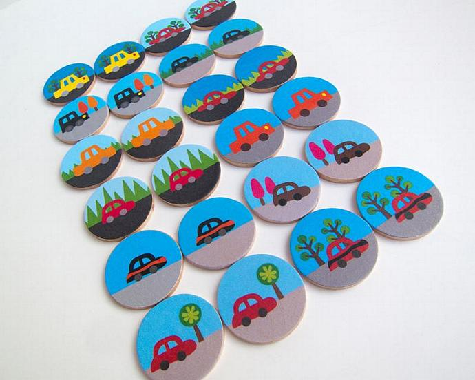 Wooden Memory Game Cars Matching Game Vehicles Wood Play Set
