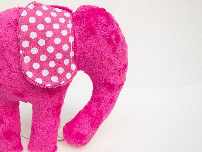 Chevron Polka Dot  Elephant Softie Hot Pink Fuchsia Plush Animal Minky