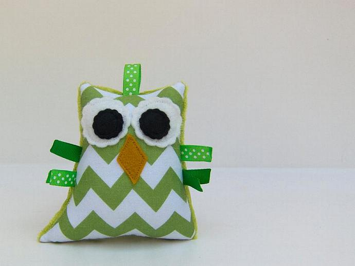 Plush Owl Green White Chevron Rattle Softie Baby Toy Minky Zig Zag Aqua White