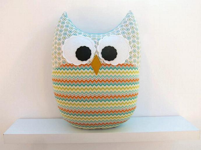 Large Owl Plush Chevron Pillow Teal Orange Green Turquoise Nursery Decor