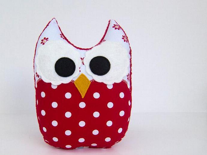Stuffed Owl Toy Plush Mini Pillow Softie Red White Polka Dot Minky