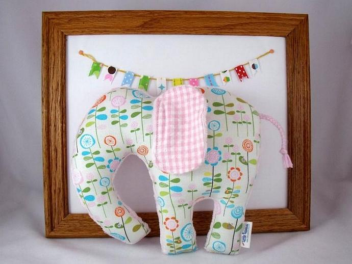 Plush Elephant Softie - Handmade Minky Stuffed Animal - Pink, Turquoise, Orange,