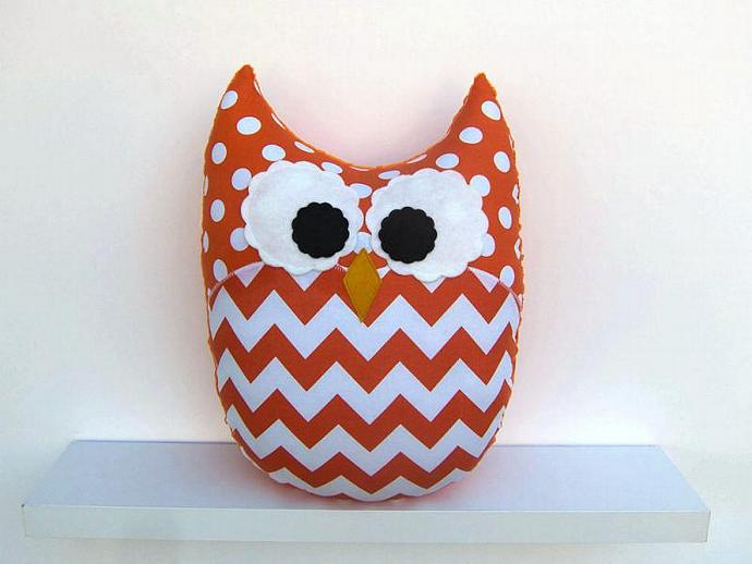 Large Chevron Owl Pillow Orange Zig Zag Nursery Decor