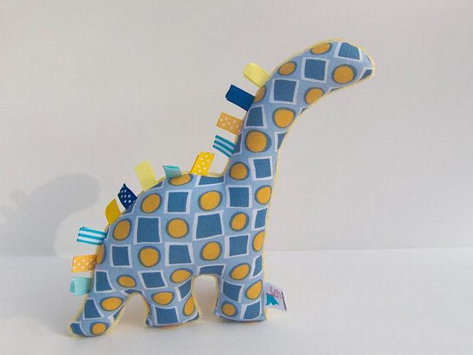 Plush Dinosaur - Minky Stuffed Animal - Blue and Yellow - Handmade Baby Boy Toy