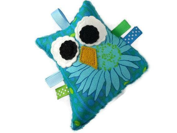 Plush Rattle Owl Baby Toy Turquoise Teal Green Minky Mini Owl Softie