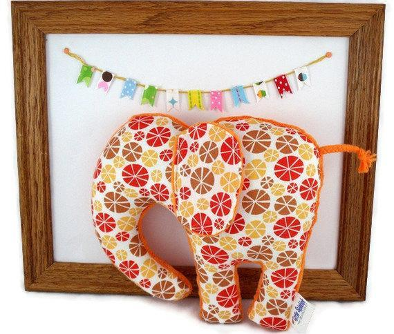 Orange and Red Elephant Plush Baby Toy Stuffed Animal