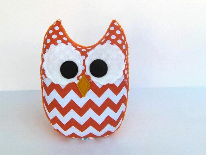 Orange Chevron Owl Plush Baby Toy Mini Pillow Softie