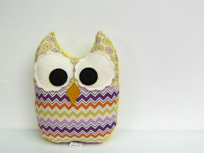 Chevron Stuffed Owl Toy Plush Mini Pillow Softie Purple Green Orange Lilac Minky