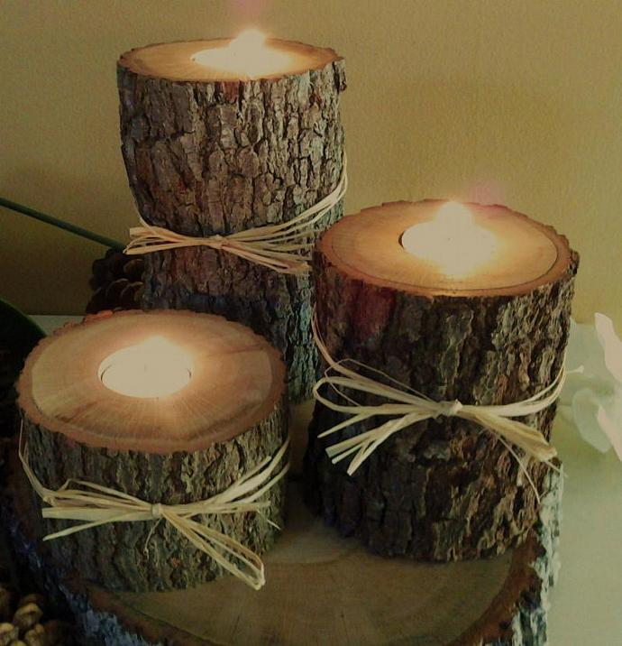 "Set of 3  (3"", 4"", 5"")  - Oak  Tree Branch Candleholders - Rustic Wedding, Home"