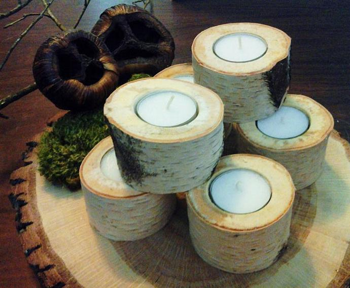 6  White Natural Birch Tea Light Candleholder