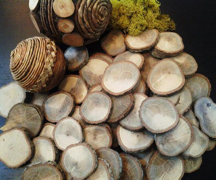 50 pack assortment of Oak Natural Tree Wood discs -Rustic  Wedding decor,